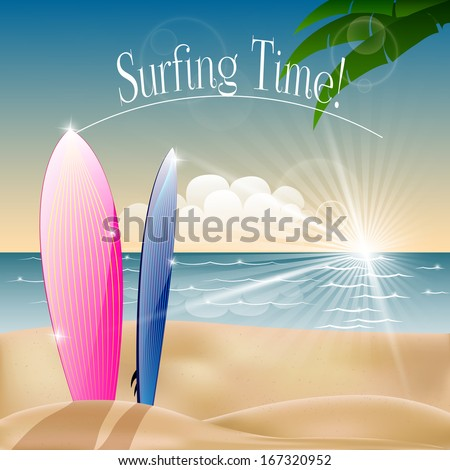 Surfing time - stock vector