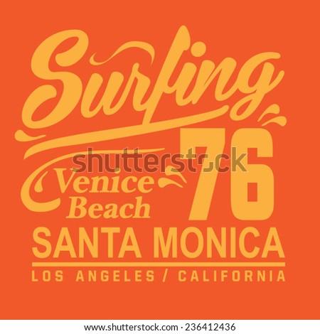 Surfing typography, t-shirt graphics, vectors - stock vector