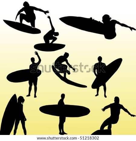 surfing vector. - stock vector