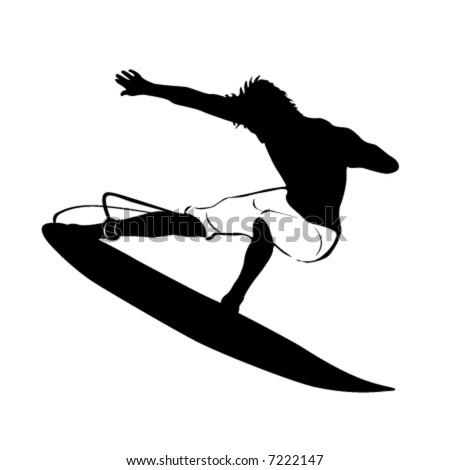 surfing vector - stock vector
