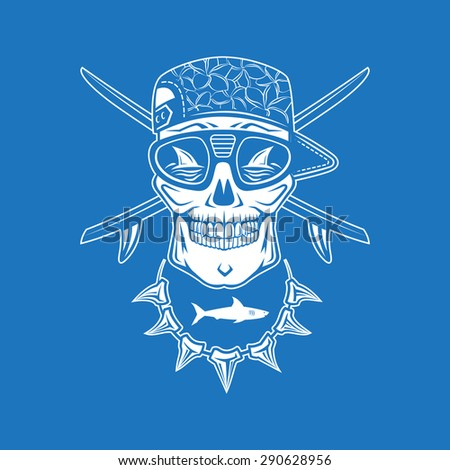 Surfing vector monochrome emblem with surfboards, shark and skull cap and sunglasses. - stock vector