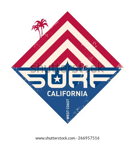 Surfing vintage label. California west coast surfers. Pacific Ocean team. Vector illustration for surf board design. - stock vector