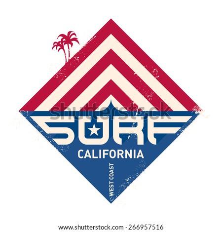 Surfing vintage label. California west coast surfers. Pacific Ocean team. Vector illustration for surf board design. - stock vector