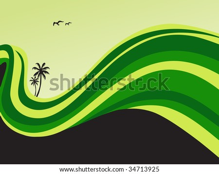 surfing waves, palm trees on a beach - stock vector