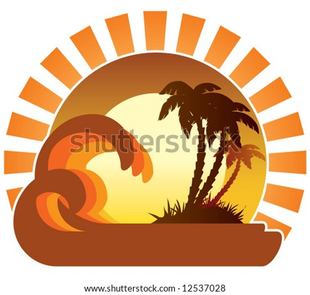 Surfing waves, tropical island, palm trees on a beach - stock vector