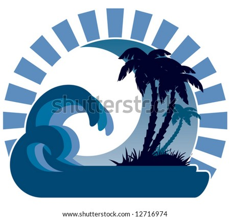 Surfing waves, tropical island, palm trees on a beach