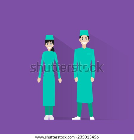 surgeon medical doctor team wear surgery scrub suit, mask and cap flat icon vector illustration - stock vector