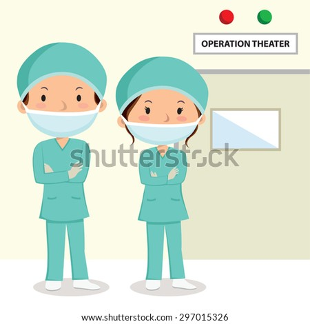 Surgeons. Surgeons in scrubs with folded arms standing outside the operation theater.  - stock vector