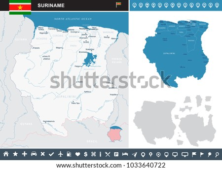 Suriname map and flag - High Detailed Vector Illustration