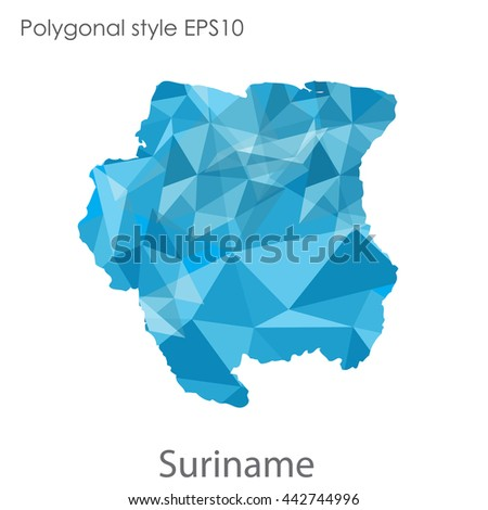 Suriname map in geometric polygonal style.Abstract gems triangle,modern design background.Vector illustration EPS10