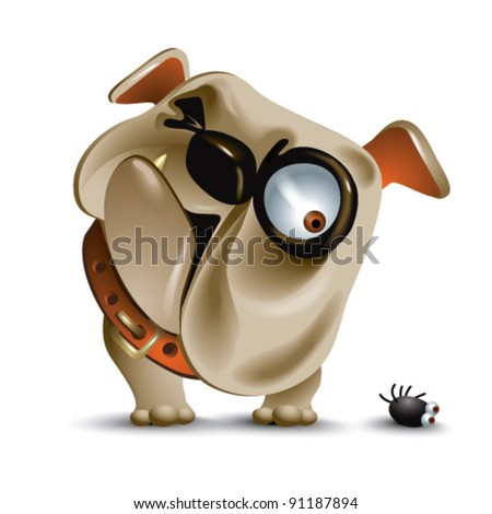 surly bulldog looking down at the flea - stock vector