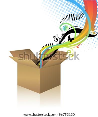 Surprise box - stock vector