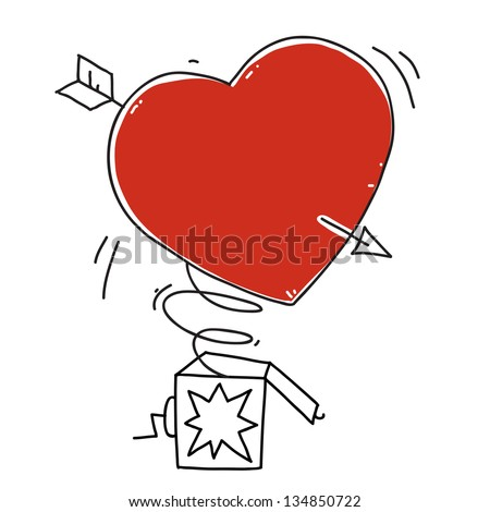 surprise box with heart. arrow in the heart. cartoon illustration - stock vector