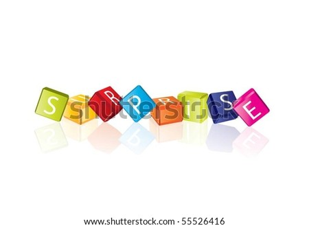 Surprise (cube letters in editable vector format) - stock vector