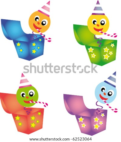 Surprise in the box - stock vector