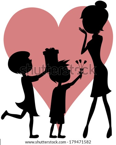 Surprise Mom! Cartoon-style art with black silhouettes of a girl and a boy with short hair giving a gift box and a bouquet of roses to their mother. - stock vector