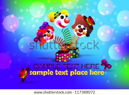 Surprise, the amusing vector clown on a white background. - stock vector