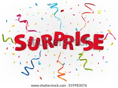 Surprise with colorful confetti - stock vector