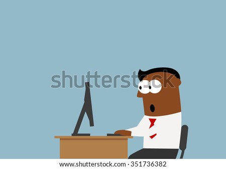 Surprised black businessman goggled at the desktop monitor with wide opened eyes - stock vector