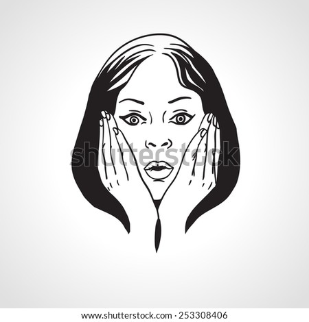 Surprised girl, shocked face, close up portrait. Vector illustration - stock vector