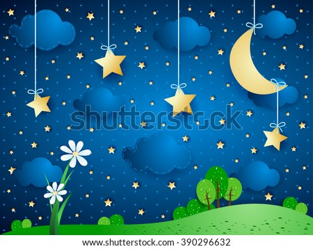 Surreal background with moon, clouds and flowers. Vector illustration  - stock vector