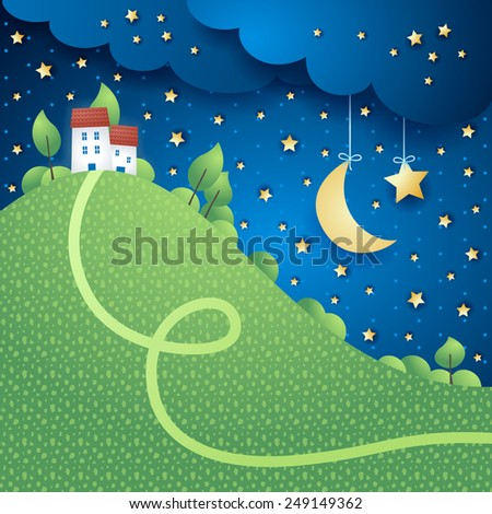 Surreal landscape with hill, vector eps10 - stock vector