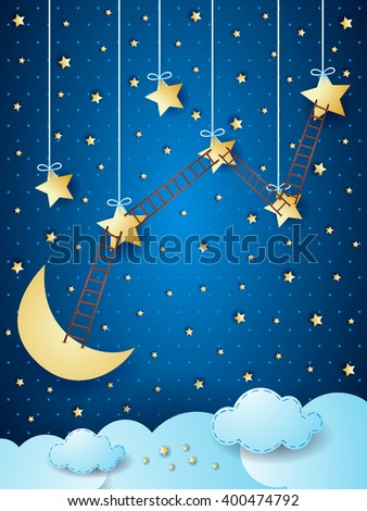 Surreal landscape with moon, stars and ladders. Vector illustration  - stock vector