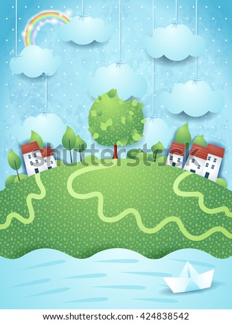 Surreal landscape with river and paper boat. Vector illustration  - stock vector