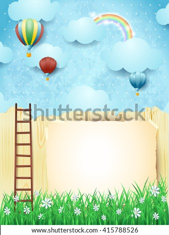 Surreal landscape with stairway and hot air balloons. Vector illustration  - stock vector