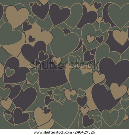 Surreal Military Camouflage Background with Love heart shape - stock vector