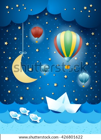 Surreal seascape with hot air balloons and paper boat. Vector illustration - stock vector