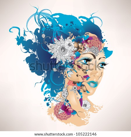 Surrealistic girl with flowers - stock vector