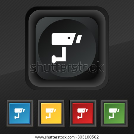 Surveillance Camera  icon symbol. Set of five colorful, stylish buttons on black texture for your design. Vector illustration - stock vector