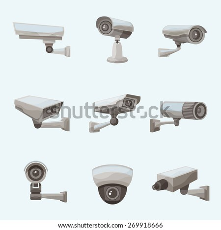 Surveillance camera security system realistic icons set isolated vector illustration - stock vector
