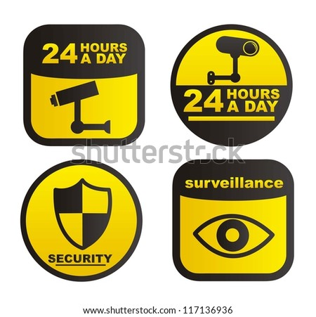 surveillance labels isolated over white background. vector - stock vector