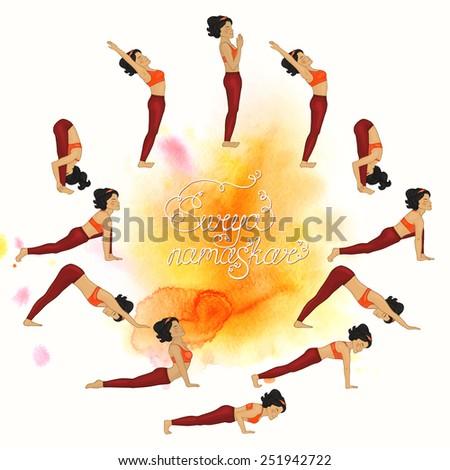 Surya namaskar complex asanas (Hatha Yoga) watercolor - stock vector