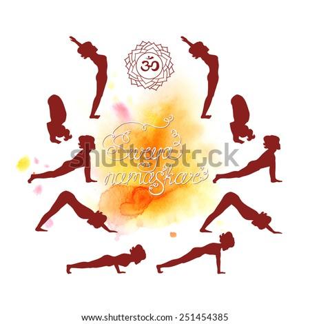 Surya Namaskar Hatha Yoga Watercolor Silhouette