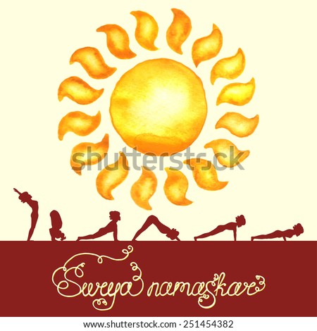 Surya Namaskar (Hatha Yoga) watercolor sun (silhouette pose) - stock vector