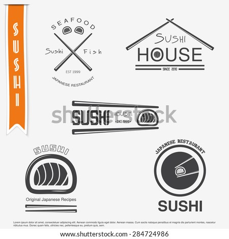 Sushi and rolls a set. Japanese kitchen. Typographic labels, logos and badges. Flat vector illustration - stock vector