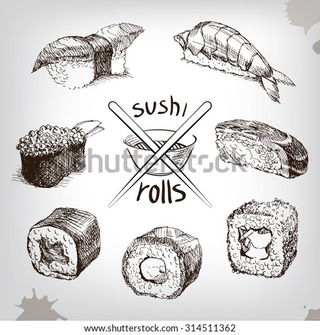 Sushi and rolls, hand drawing  Fresh fish and rice. soy sauce with sticks. - stock vector