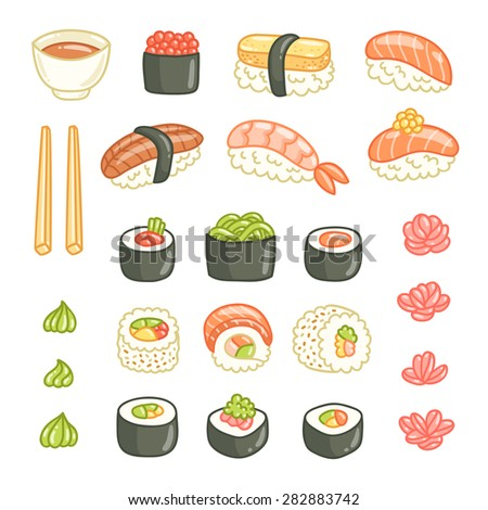 Sushi and rolls vector illustrations collection isolated on white - stock vector