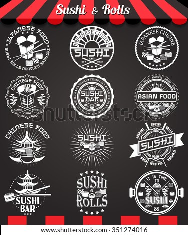 Sushi and rolls white labels set on blackboard. Japanese and chinese cuisine vintage design elements, logos, badges, label, icons and objects on chalkboard. Asian food vector illustration - stock vector