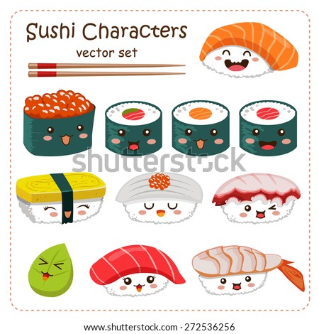 Sushi Cartoon Character Vector Set - stock vector