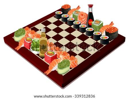Sushi chessboard. Isolated on white. Vector illustration - stock vector