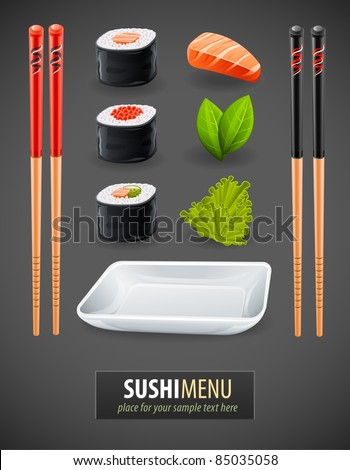 Sushi details of japanese cuisine - ingredients, fish, chopsticks and plate. Vector illustration - stock vector