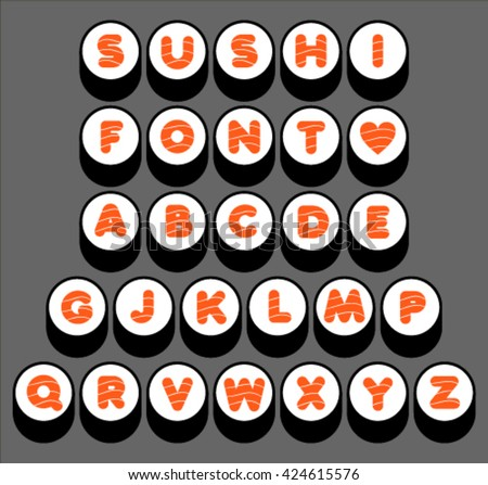 Sushi font, letter A-Z, vector. - stock vector