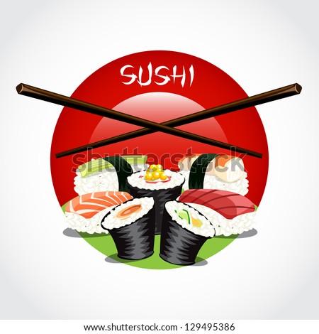 Sushi japan set vector - stock vector