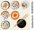 sushi, Japanese food, vector, illustration - stock vector