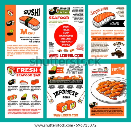Sushi menu poster template for japanese cuisine seafood for Fresh fish company menu