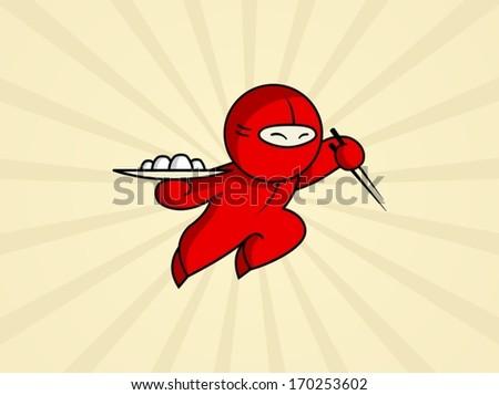 Sushi Ninja - stock vector
